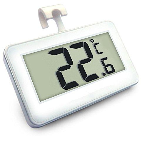 Digital-Tiefkühltruhe-Thermometer Drahtloser Kühlraum-Thermometer und Innentemperatur-Monitor (große LED-Anzeige, Weiß) Drei Platzierungs-Modi (hängend, stehend und magnetischer Stock)