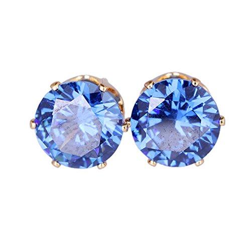 YAZILIND 18K Vogue Schöne Multicolor Zirkonia hypoallergen Edelstahl G blau Bolzen Ohrringe für Frauen