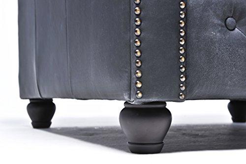 Original Chesterfield Sofas und Sessel – 1 / 2 / 2 Sitzer – Vollständig Handgewaschenes Leder – Vintage Schwarz