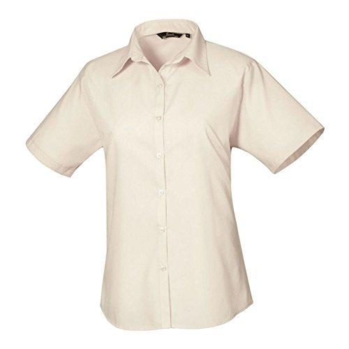 Premier Damen Blouse Short Sleeve Poplin Fitted Office Workwear Business Shirt (Womens Poplin Shorts)
