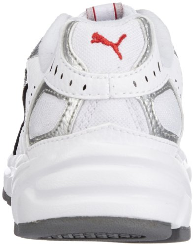 Puma Xenon Trainer, Unisex - Kinder Hallenschuhe Weiß (white-black-puma silver-high risk red-steel grey 05)