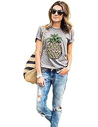 ZKOO Mujeres Piña Impresión De La Manga Corta Chaleco Verano Camiseta Tops Camisetas Ocasionales
