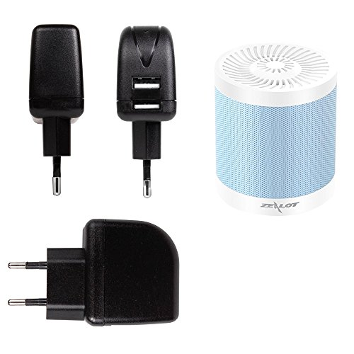 DURAGADGET Cargador Para Altavoz Portátil WanEway Q2 / Whitelabel Mini Tough / Wiko WiSHAKE / XTRA e-FUSION 102-MB-BL / Yokkao Multifunctional Bluetooth / ZEALOT S5 mini / ZENBRE F3 - Con Doble Entrada USB - Con Enchufe Europeo