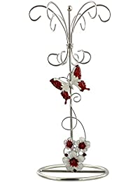 Modern Red Floral Glass Jewellery Tower with Stainless Steel Frame