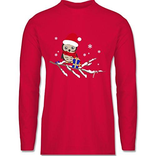 Weihnachten & Silvester - Weihnachtseule Eule - Longsleeve / langärmeliges T-Shirt für Herren Rot