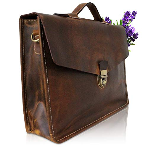 Corno d´Oro Herren Aktentasche Leder, große Leder-Tasche Herrentasche, leichte Umhängetasche Notebook-Tasche Laptop-Tasche bis 15.6 Zoll, Schultertasche Tasche Echt-Leder braun PB36
