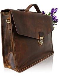 Corno d´Oro Herren Leder Aktentaschen, große Umhängetasche bis 15.6 Zoll Laptoptasche, leichte Schultertasche Vintage Echtleder Farbauswahl