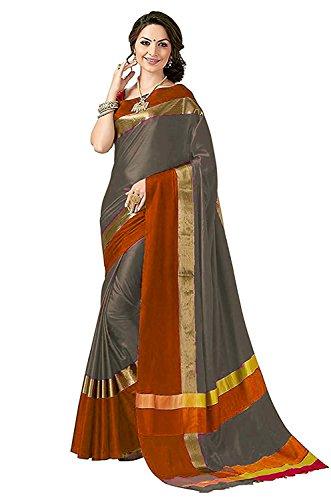 Perfectblue Women's Cotton Silk Saree With Blouse Piece(Greyorangevisva_Grey_Free Size)