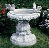 Vogeltränke mit einem Vogel Gartendeko Gartenskulptur aus Betonwerkstein Gartenfigur Steinfiguren Garten-Statue Dekofigur