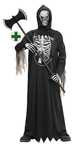 Karneval-Klamotten Dämon Kostüm Kinder Jungen Horror Kostüm Kinder-Kostüm mit Skelett-Druck MIT Doppel-AXT Halloween-Kostüm Größe 128 (Dämon Kostüm Kind)