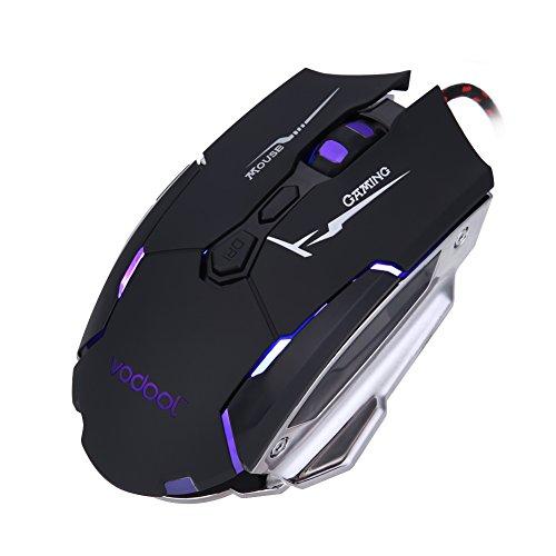 demiawaking USB Verkabelt Optische Gaming-Maus mit 7Tasten 4DPI 800dpi-1200DPI -2400dpi-3200DPI Licht mit hoher Geschwindigkeit 7Farben für Notebook-Spiel Pro PC Laptop Computer -