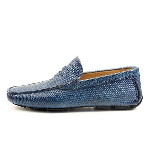 GIORGIO REA Chaussures Homme Car Shoes Denim Bleu Mocassins Mâle Main Italiennes, Cuir, Élégant, Classique, Oxford Classic Shoes