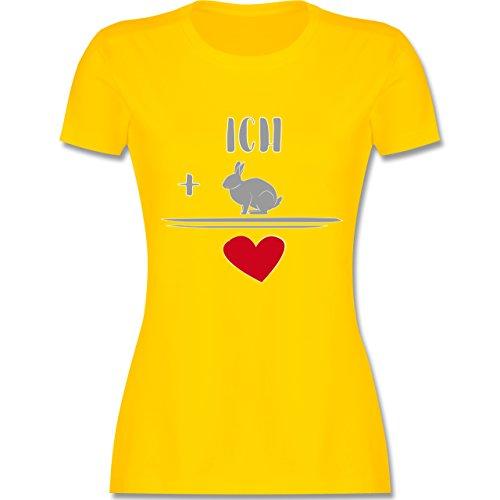 Sonstige Tiere - Hasen-Liebe - tailliertes Premium T-Shirt mit Rundhalsausschnitt für Damen Gelb