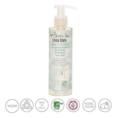 BISOU BIO - Baby Line - Sanftes Bad - Mit Reisöl und Kamillenöl - Verhindert Rötungen und Reizungen - Ideal für Babys und Kinder - Bio - Vegan - Nickel getestet - 200 ml -