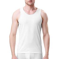 Genuwin Camisetas interiores de Tirantes Para Hombre de Fibra de Bambú Rayón (Tejido de Origen Natural), Pack de 3 (S, Blanco)