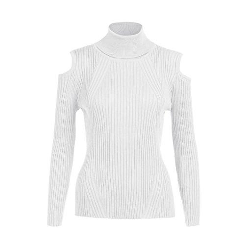 Transer ® Femmes une taille pure couleur hiver manches longues col roulé pull tricoté Blanc
