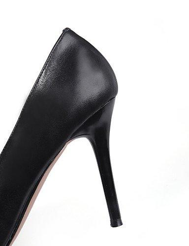 WSS 2016 Chaussures Femme-Bureau & Travail / Décontracté-Noir / Blanc-Talon Aiguille-Talons / Bout Pointu-Chaussures à Talons-Cuir black-us6.5-7 / eu37 / uk4.5-5 / cn37