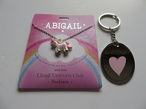 PERSONALISED CLOUD UNICORN NECKLACE FOR ABIGAIL WITH FREE KEYRING