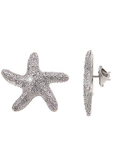 Leslii Pin Anstecker Glitzer Seestern Silber | Damen-Accessoires Mode-Schmuck | Größe: 3cm