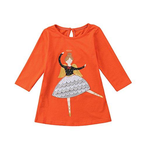 Baby Mädchen Kleid Langarm T-Shirt Baumwolle Animal Print Festival Party Schule Sweatshirt für 1-7 Jahre -