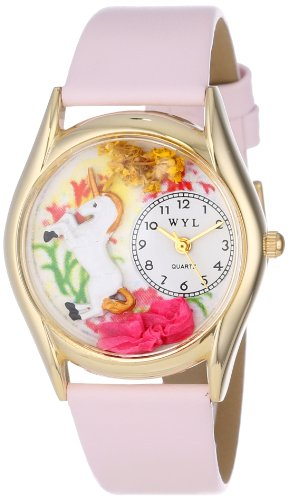 Whimsical Watches Unicorn Pink Leather and Goldtone Unisex Quartz Watch with White Dial Analogue Display and Multicolour Leather Strap C-0420001