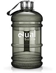 Dual Bottle / Water Jug / 2.2 Liter / Wasserflasche / Trinkflasche / Perfekt für den täglichen Wasserbedarf / Ideal für Training, Fitness und Sport / Wasser-flasche / Gallon / Water Gallon / Wasser Gallone / Wasser Gallon / Optimale Wasserdosis über den Tag hinweg (Schwarz)