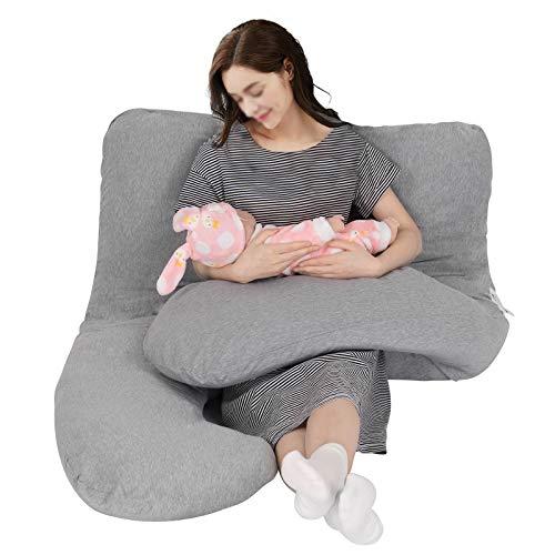 WOLTU SKN041gr, Schwangerschaftskissen Seitenschläferkissen Lagerungskissen Stillkissen inkl.Jerseystoff