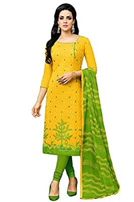 Applecreation Women'S Cotton Jacquard Unstitched Dress Material (Yellow_Free Size)
