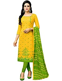 Applecreation Women'S Cotton Jacquard Unstitched Dress Material (Yellow_Free Size)
