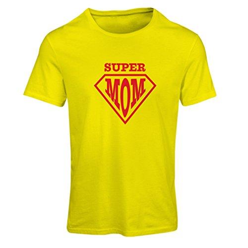 Frauen T-Shirt Super MOM - für Frau Geschenke Frauen (Large Gelb Mehrfarben)