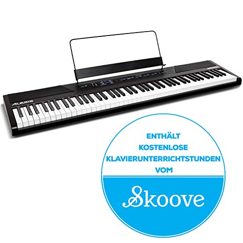 Alesis Recital - 88-Tasten Einsteiger Digital Piano / E Keyboard mit vollwertigen halbgewichteten Tasten, Netzteil, zwei eingebauten 20 Watt Lautsprechern und fünf Premium-Stimmen, 3-Monatsabo Skoove