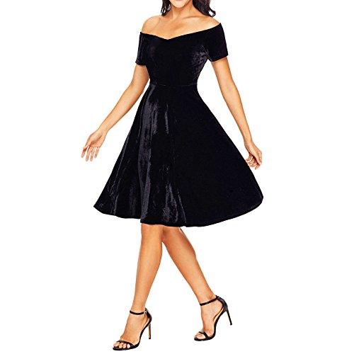 Toocool - Vestito donna abito miniabito velluto skater elegante cerimonia nuovo DL-2211 Nero