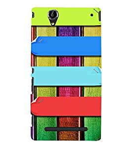 MULTICOLOURED LINES PATTERN 3D Hard Polycarbonate Designer Back Case Cover for Sony Xperia T2 Ultra :: Sony Xperia T2 Ultra Dual