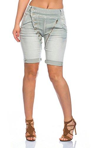 MOZZAAR Damen Skinny Jeanshose Röhrenjeans Hüftjeans Jeans Shorts kurze Hose Pants Caprijeans Capri Bermuda Skinny Button Reißverschluß XS-XL grau Bermuda
