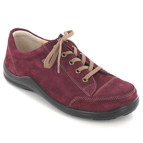 Finn Comfort Womens Soho 2743 Suede Shoes Rosso (Bordo)