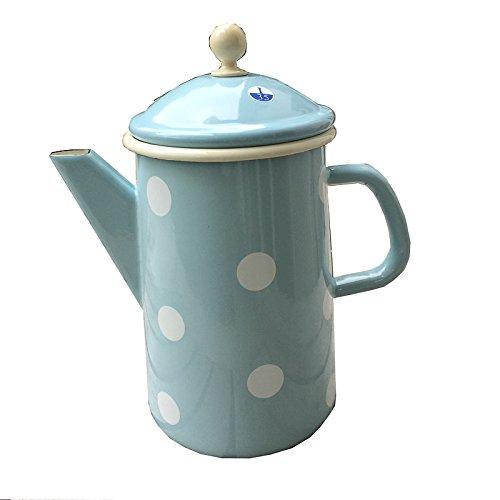 """""""Münder Emaille–Jarra de café, tetera–1,6L–Color Azul Claro con lunares blancos–nostalgisch"""""""
