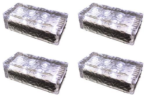 4 pezzi FUCHS Mattonella Solare LED Vetro bianco freddo 19,6x9,6x6 cm - per l\'illuminazione del percorso (antiscivolo)