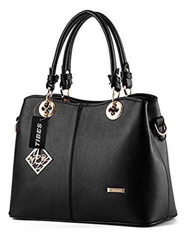 Tibes Ladies PU Leather Handbag with Shoulder Strap Black