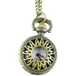 MapofBeauty Bronze Alloys Carve Sun Patterns Quartz Pocket Watch