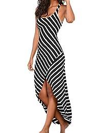 Cinnamou Vestido Largos Mujeres, Vestido de Oscilación Irregular sin Mangas Blanco y Negro de Las