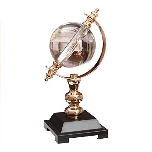 Feineshi Kristallkugel - Moderne Kristallkugel Dekoration Globus Modell Metall Halterung Hardware Handwerk, Wohnzimmer Ornament Kristallglas Handwerk Dekoration - Quarz-kristall-globus