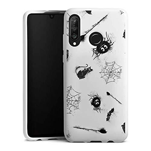 DeinDesign Silikon Hülle kompatibel mit Huawei P30 Lite Case Schutzhülle Halloween Muster Spinne
