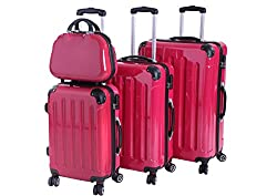 P-Collection Suitcase trolley travel case hard case suitcase hand luggage ML-XL 3er / 4er set twin rolls 8 colors (4er set, pink)