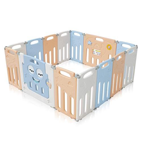 Wei/ß Verstellbar Absperrgitter T/ürschutzgitter mit Sicherheitst/ür,Kinder Laufgitter f/ür die Sicherheit Ihres Babys und Ihres Haustieres,5 Elemente 74 x 62 cm