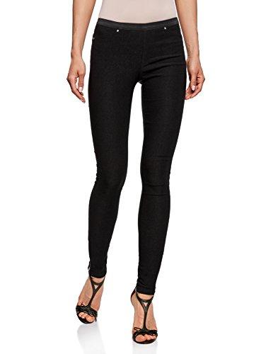 oodji Ultra Mujer Pantalones Stretch con Elástico, Negro, ES 38 / S