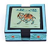 Harit Handicrafts Decorative Coaster Set. Handmade Exclusive Wooden Hand-Painted Dancing Camel Tea Coasters Set Of 6. Multipurpose Coffee/Drink Coasters With Holder - SEHWH11180036A