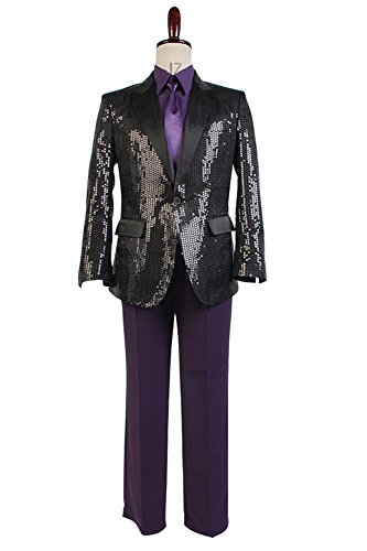 Daft Punk Sparking Black Sequin Performance Outfits Robot Cosplay Costume Purple Version Maßanfertigung (Daft Punk Halloween Kostüm)