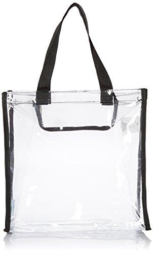 mDesign Reisetasche für Accessoires - Tasche für Strand, Pflegeprodukte oder Kosmetik - Tragetasche transparent/schwarz