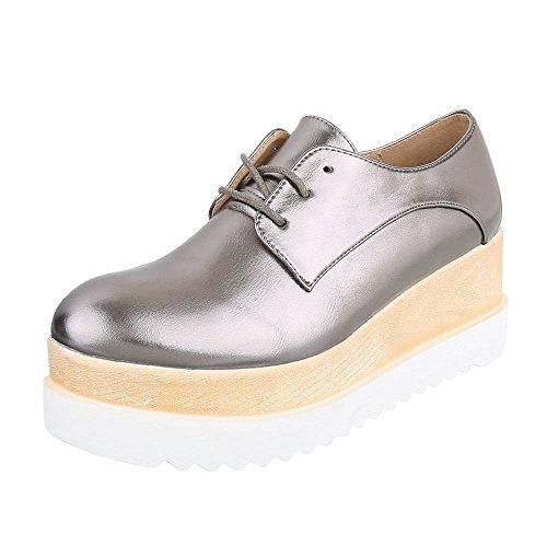 Schnürer Damenschuhe Oxford Schnürer Schnürsenkel Ital-Design Halbschuhe Silber Grau 243-P