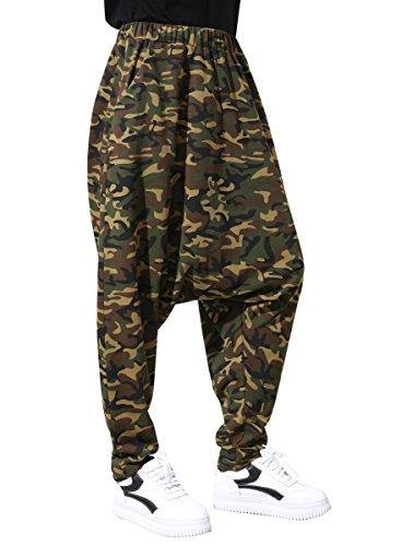 ELLAZHU Damen Freizeit Elastischer Bund Camouflage Drop Crotch Hosen Baggy Hosen GY1230